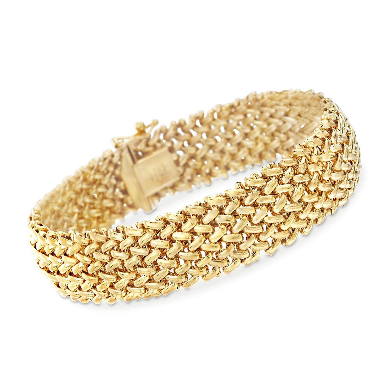 1070af5c3e9 Ross-Simons Italian 14kt Yellow Gold Riso Bracelet   Bracelets ...