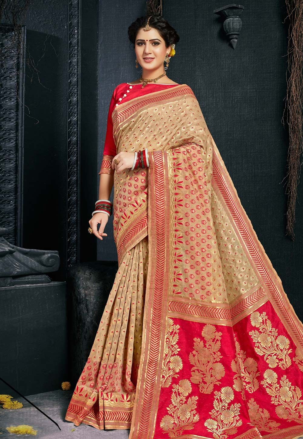ba1b5e6a4b Buy Beige Silk Saree With Blouse 154016 with blouse online at lowest price  from vast collection of sarees at Indianclothstore.com.