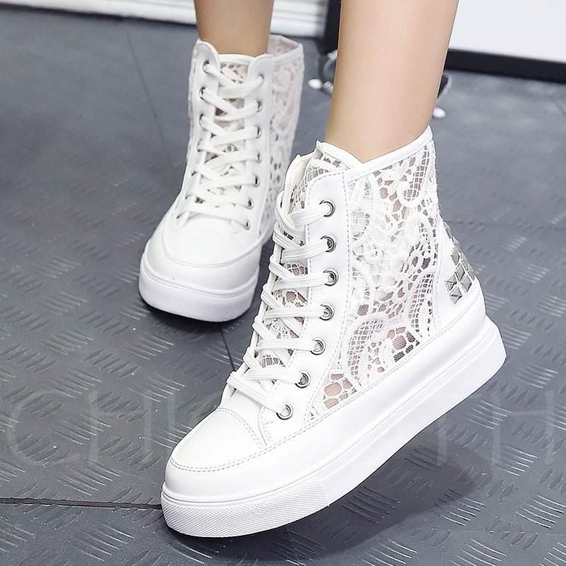 eec63c232a A| Chicloth Rivet Platform Lace Hollow High Top Women's Sneaker in ...
