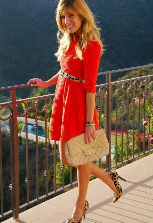 2b6668e4ddc red dress. cheetah print. | My style inspiration | Fashion, Style ...