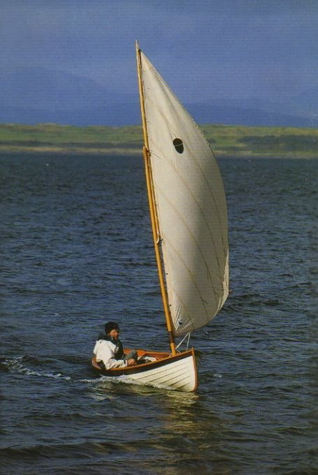 Iain Oughtred in his dinghy design Acorn | Boat Building | Dinghy sailboat, Sailing dinghy, Boat ...