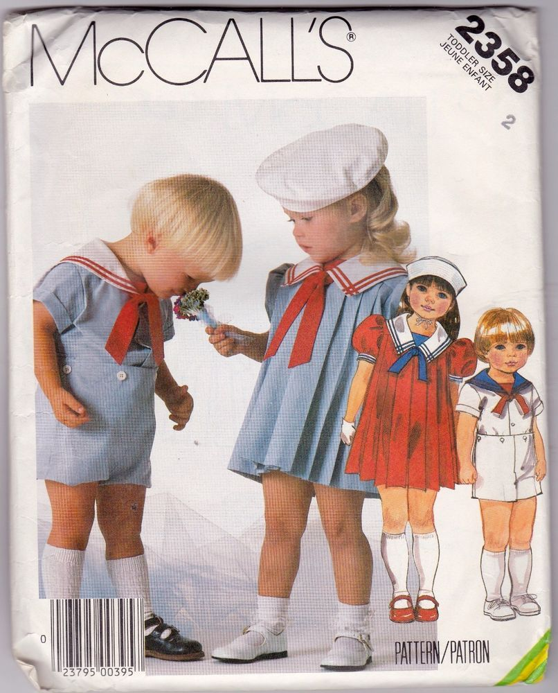 Mccalls sewing pattern toddlers dress sailor suit hat size