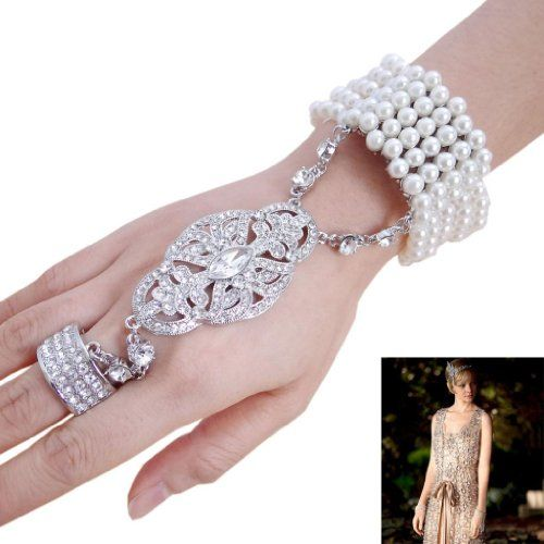 Babeyond® The Great Gatsby Inspired Flower Pattern Simulated Pearl Bracelet Ring Set Nh4vE