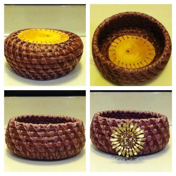 Handmade Lavender Pine Needle Basket by BasketsByCarrie on Etsy, $55.00