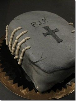 scary cake halloween skeleton and rip tombstone - Scary Halloween Dessert