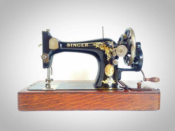 BEAUTIFUL Vinatge Singer 128K HAND Crank Sewing by SEWING4EVERYONE