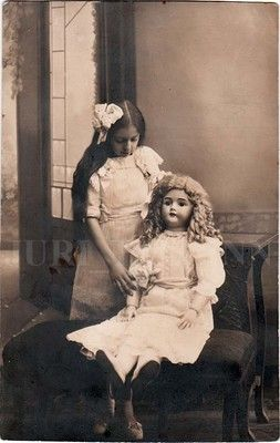 1913 Imperial Russia Long Hairs Girl Play w Vintage Rubber Doll in Size of Girl   eBay