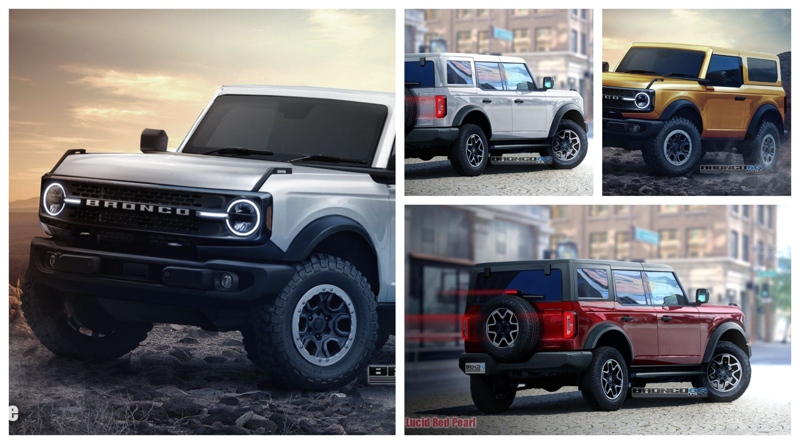 We Bring To You Photo Realistic Preview Cgi Of The Production 2021 Ford Bronco In 2 Door And 4 Door Styles Shown In All The Bronco Ford Bronco Broncos Images