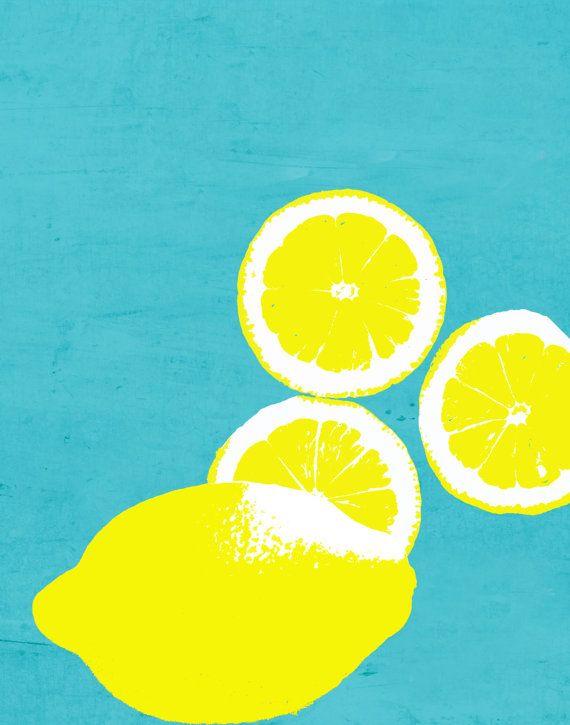 Yellow Lemons on blue background Kitchen Food 11 x 14