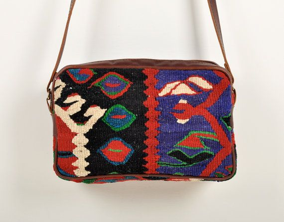 bold southwest kilim purse with leather trim