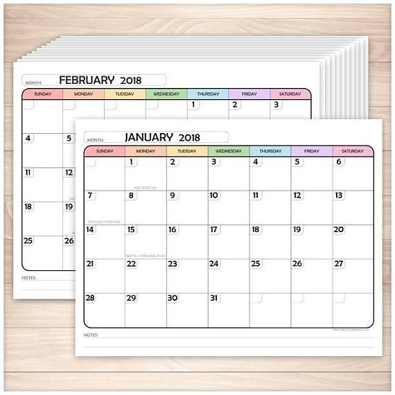 Printable 2018 Calendar - 12 months, PDF https\/\/wwwetsy - bowling score sheet template
