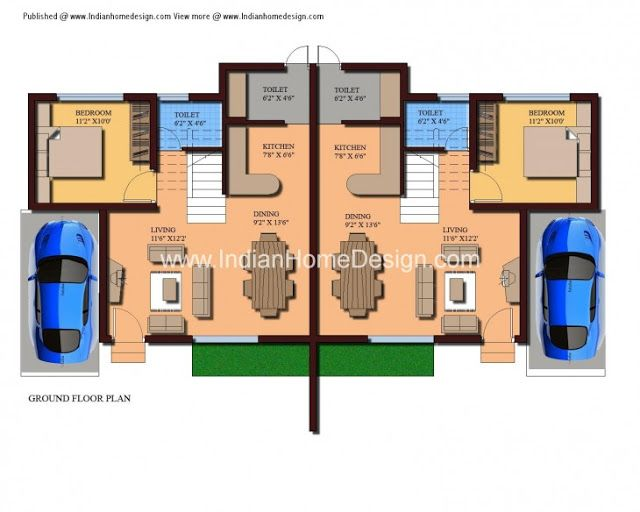 Modern Twin House Plans Of 1000 Sqft 3 Bedroom Home Modern House Floor Plans Bedroom House Plans Modern Bungalow House House plan vs floor plan