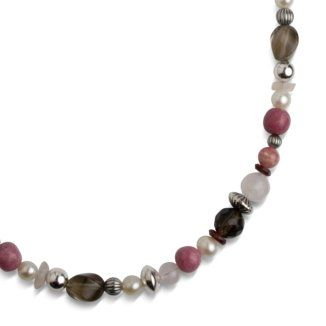 Sterling Silver Brown and Pink Gemstone Beaded Gift Necklace * Check this awesome product by going to the link at the image.