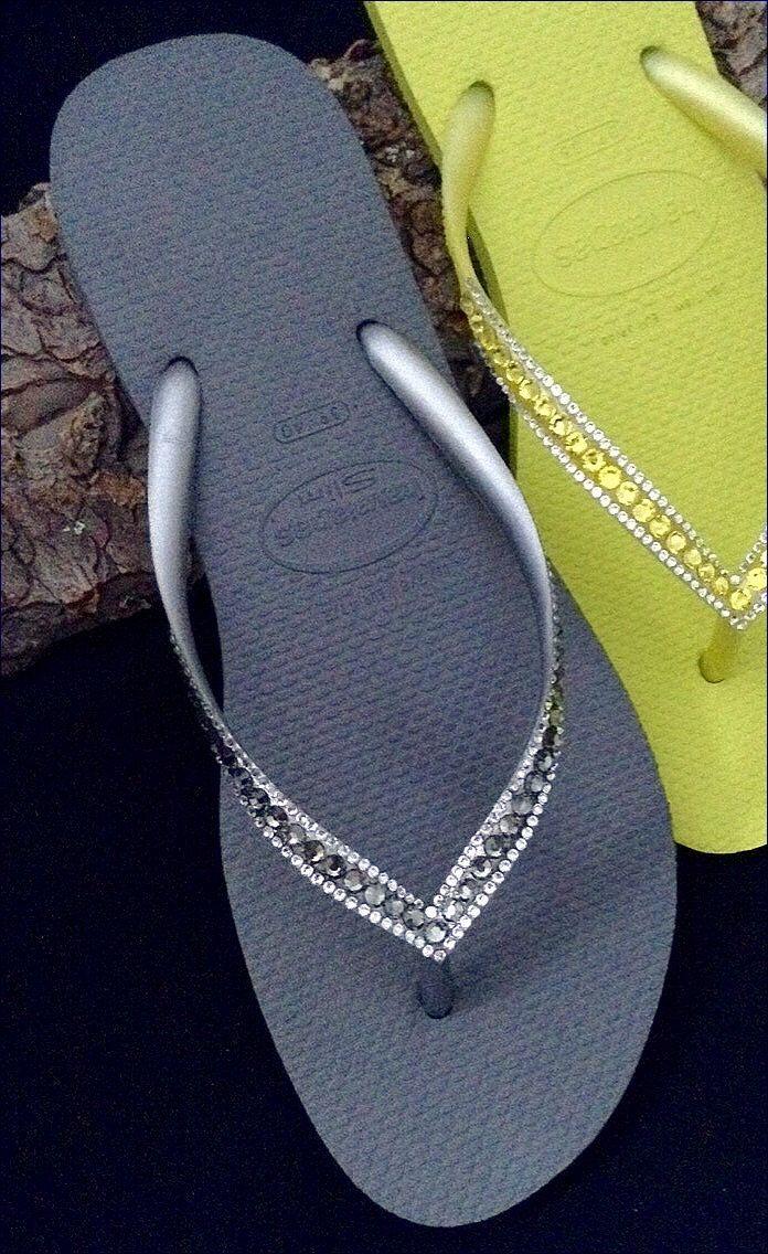 73e90448916d36 Steel Gray Swarovski Crystal Havaianas SLIM