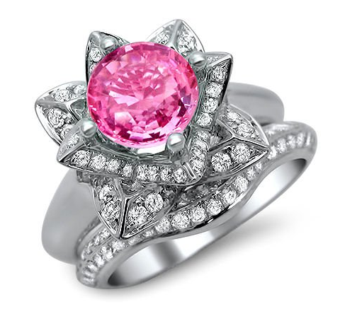 Lotus Flower 14K Yellow Gold Plated Round Pink Sapphire Round Cut Engagement Wedding Ring