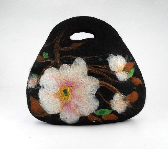 Felted Bag Handbag Purse wild Felt Nunofelt Nuno felt Silk Silkyfelted Eco black…
