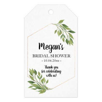 Bridal shower favor gift tag greenery botanical negle Choice Image