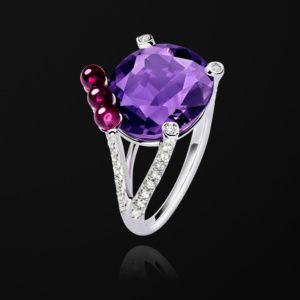 5966f244ab52 Anillo Oro blanco Diamante Amatista - PIAGET Joyas y Alta Joyería G34H1000