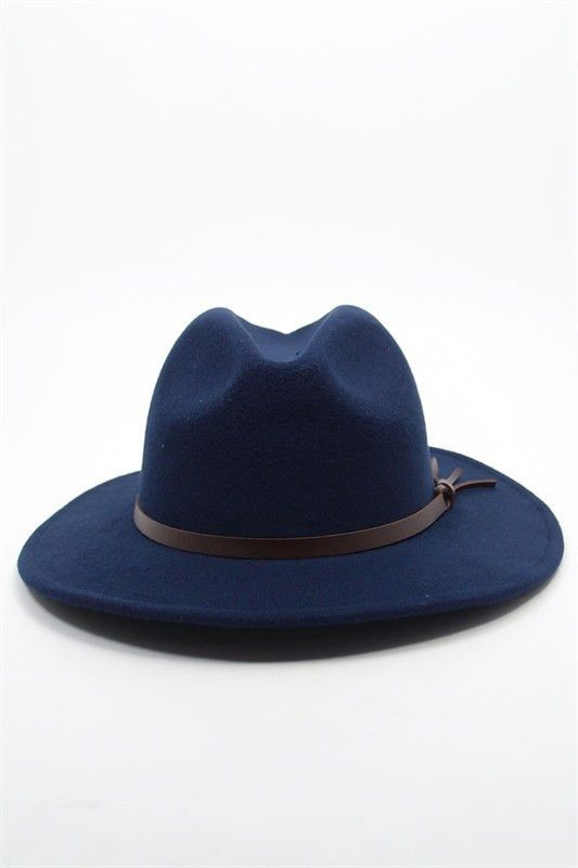 Best seller women wool-felt fedora hat with faux brown leather band. Hat is  Navy. Brim approx. 2.5