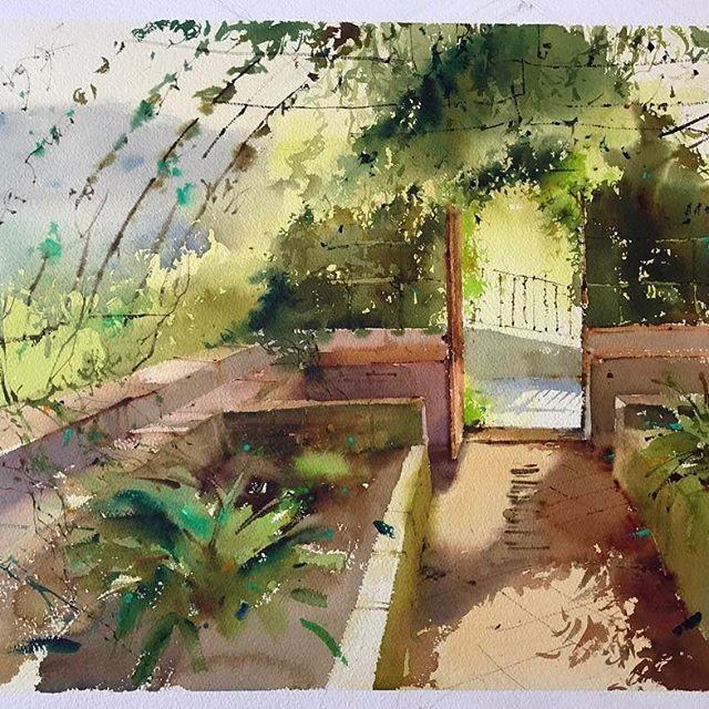 El Invernadero Del Jardin Botanico Acuarela Sobre Papel
