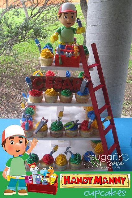 Simple cupcakes with colored icing and handy manny picks for Handy manny decorations