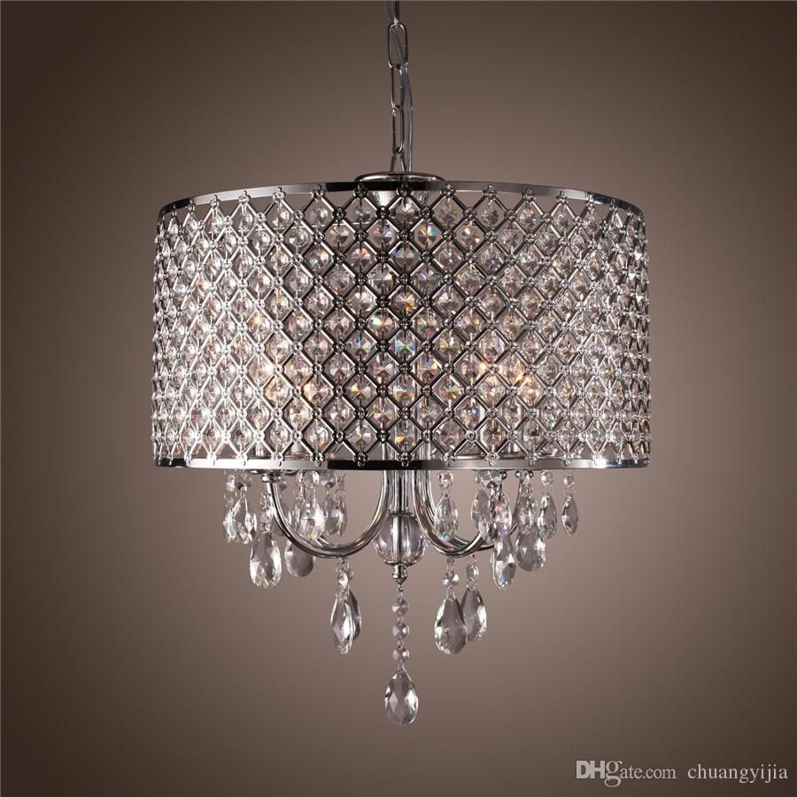 Modern Chandeliers With 4 Lights Pendant Light Crystal Drops In Round Ceiling Fixture For Dining Room Bedroom Living