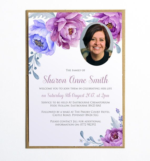 Funeral Memorial Announcement or Invitation - Charming Violet - memorial service invitation template