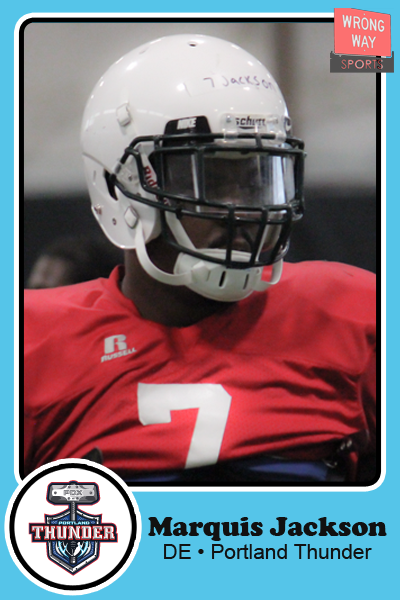 Marquis Jackson, Defensive End for the Portland Thunder, has a trading card