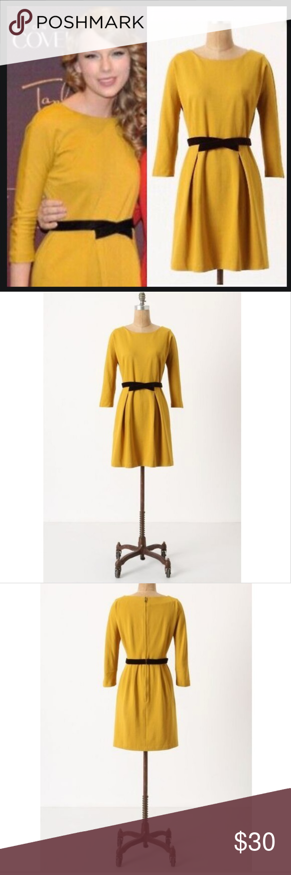 Anthropologie Fluted Ponte Dress Anthropologie Fluted Ponte Dress by Girls From Savoy. This vintage-inspired dress in a muted mustard/goldenrod yellow has a crossed velvet waist sash, an exposed back zip, 3/4 sleeves and pockets. It's a comfy stretch-infused material and can be dressed up or down. As worn by Taylor Swift. Good condition. Anthropologie Dresses Midi