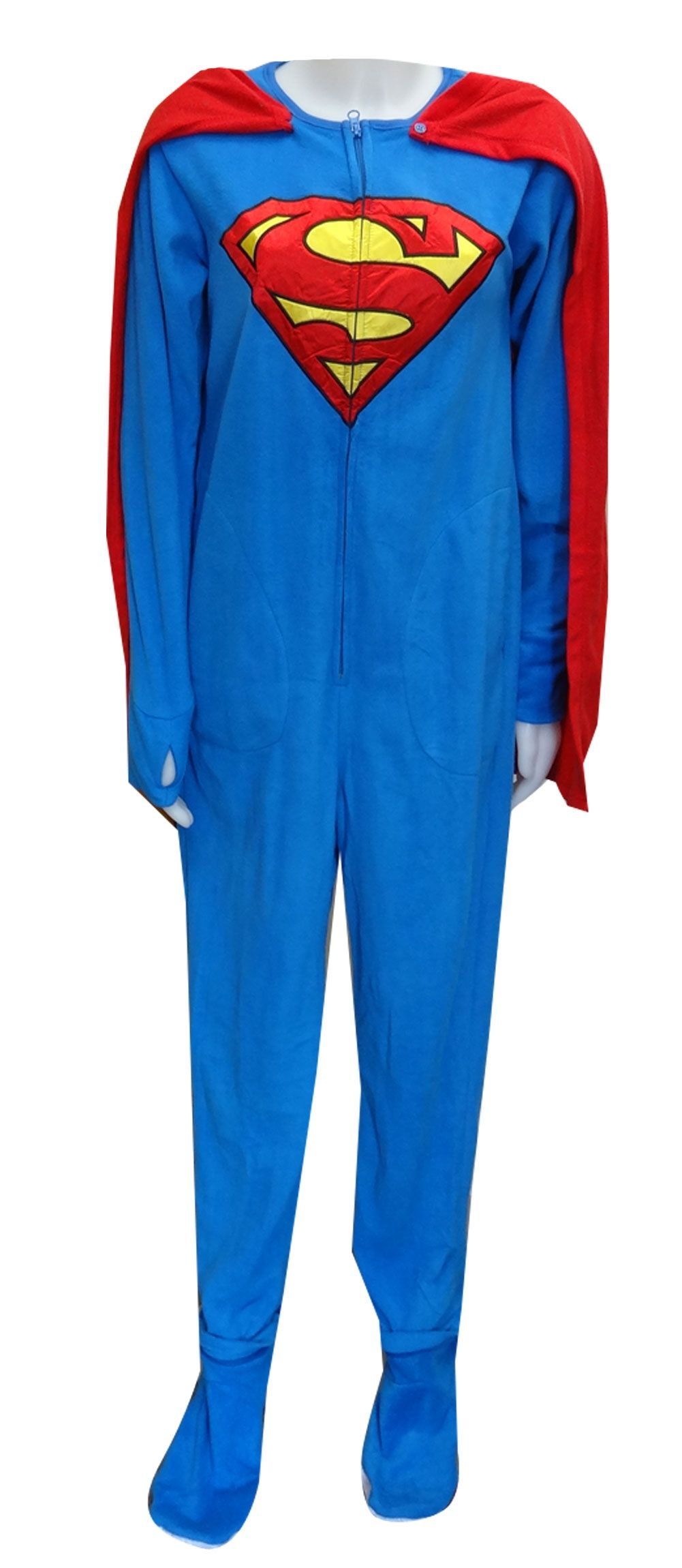 New Adult Medium SUPERMAN Fleece Halloween Union Suit One Piece Costume Cape