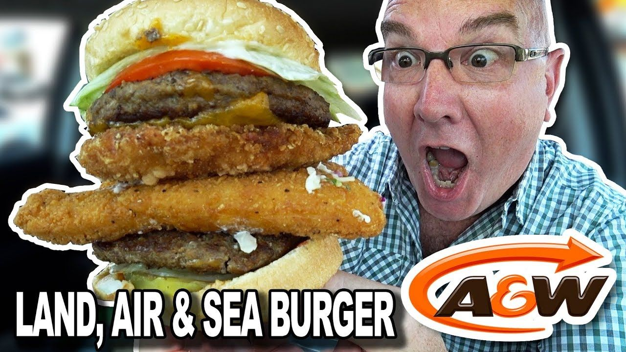 A&W ⭐ SECRET MENU ITEM ⭐ LAND, AIR & SEA Burger 4K