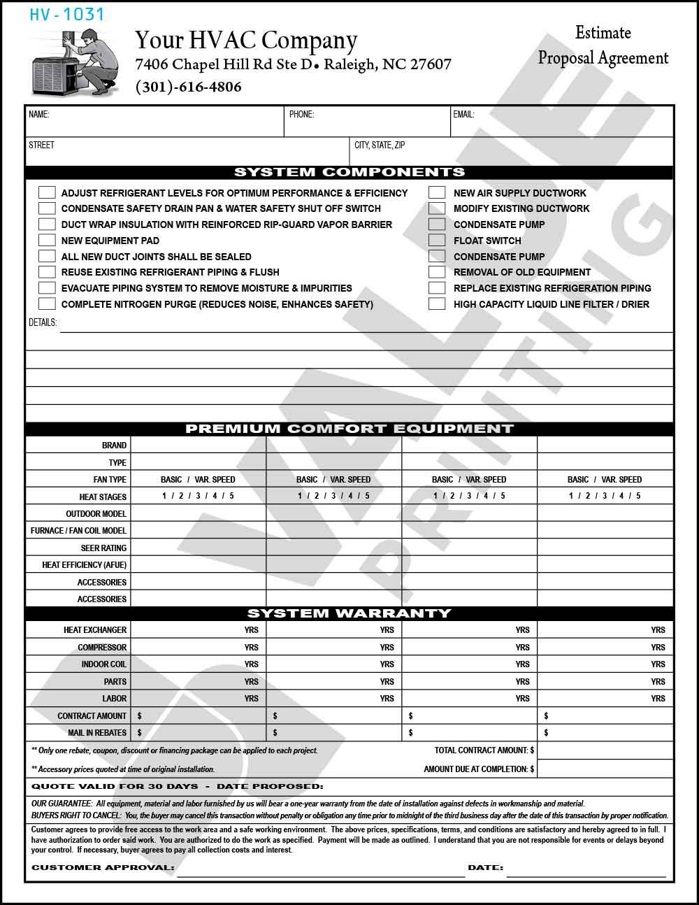 Proposal hvac systems improvement submitted by: Hvac Company Proposal Templates Contract Template