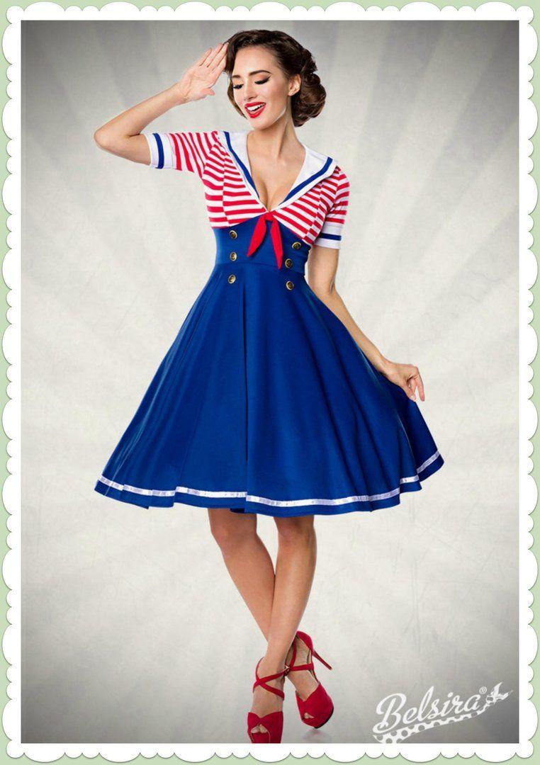 a6d1b52f60bf Belsira 50er Jahre Retro Swing Kleid - Marine Dress - Blau Rot Weiß ...