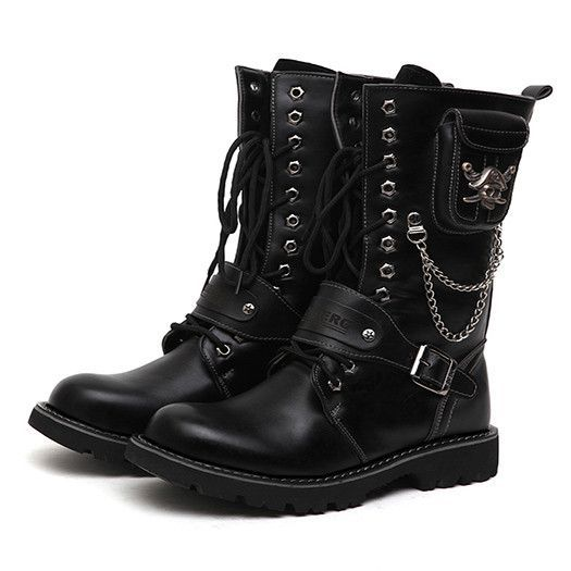 Warmth Winter Men Shoes Low Heeled Individuality Mens Boots Belt Stylish  Tie Up Chains Funky Korean