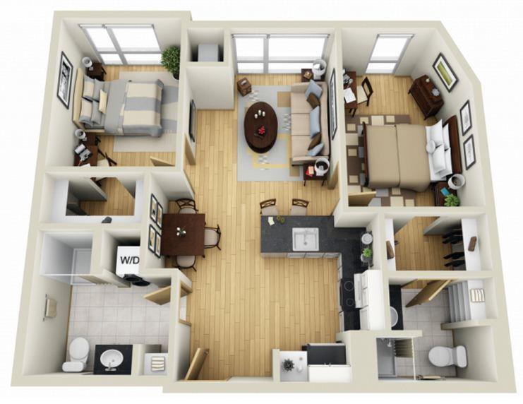 Plano de casa de dos dormitorios y dos ba os planos for Planos de apartamentos pequenos de dos habitaciones