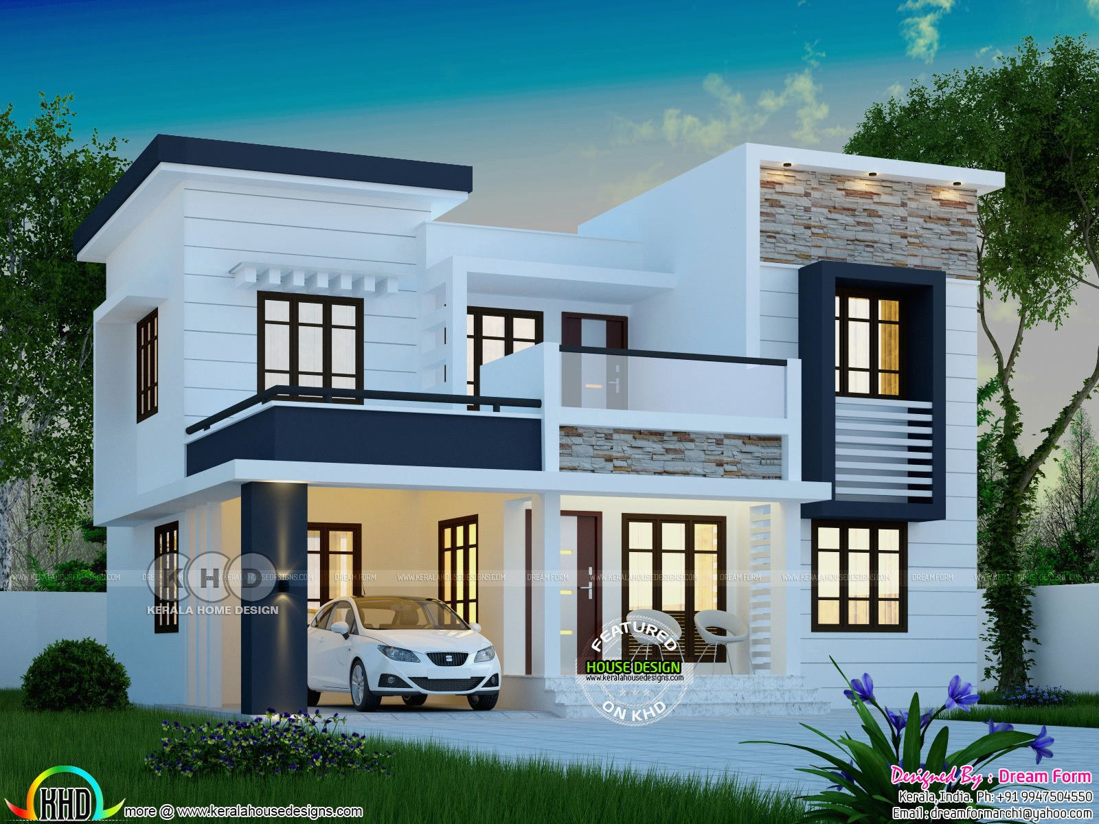 12 Cool Concepts Of How To Upgrade 4 Bedroom Modern House Plans Simphome Duplex House Design Exterior House Remodel Kerala House Design
