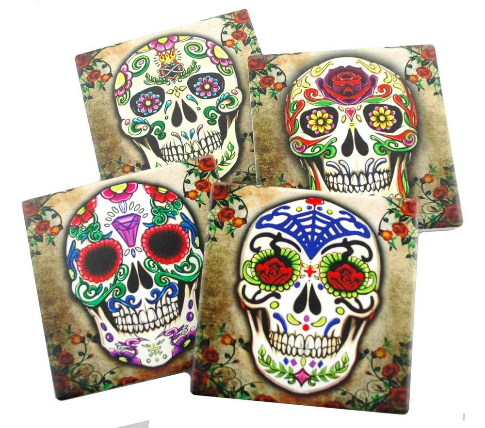 Fancy sugar skulls day of the dead ceramic coaster set of 4 tiles fancy sugar skulls day of the dead ceramic coaster set of 4 tiles with cork base dailygadgetfo Choice Image