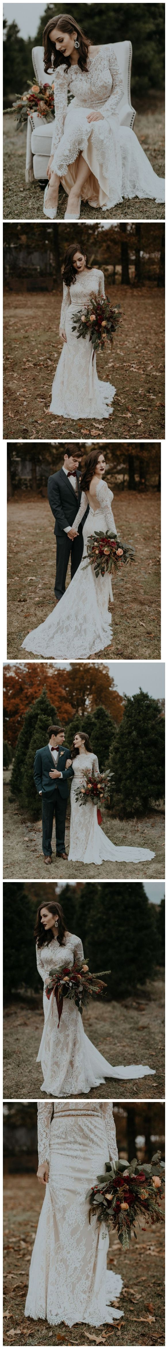 Long sleeve vintage wedding dresses backless rustic lace wedding