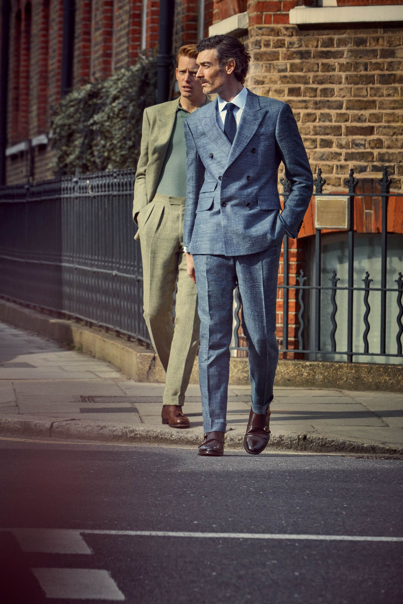 newest collection get online most desirable fashion Richard wears blue suit by ENGLISH CUT, blue shirt by EMMA ...