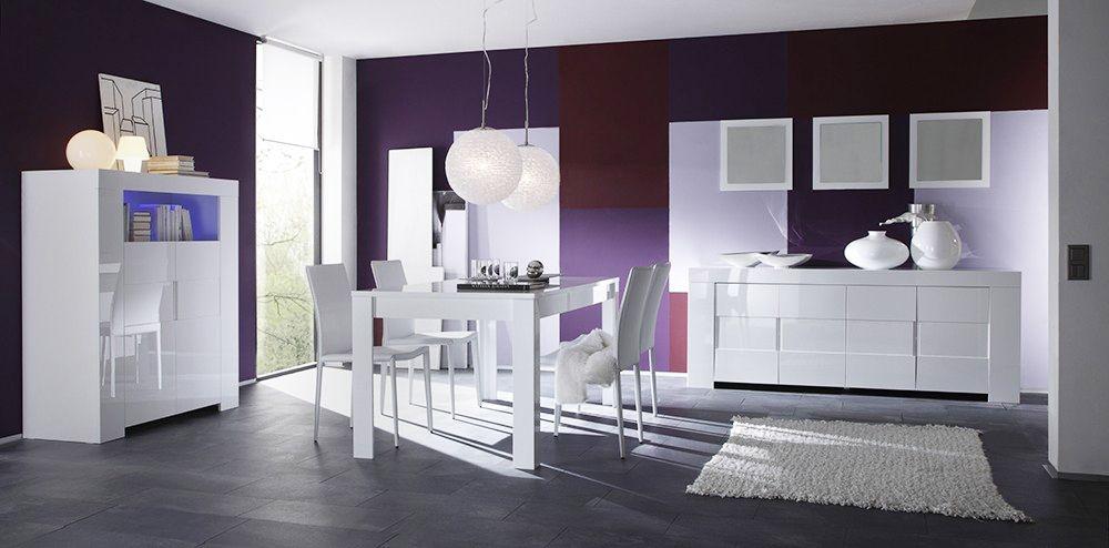 Salle à manger complète blanc laqué design ESMERALDA | Salle à ...