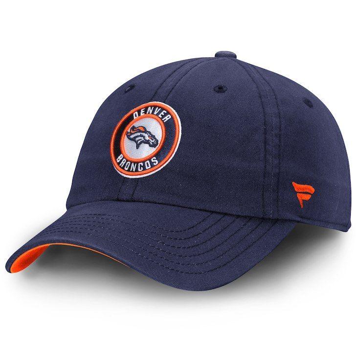 Men s Denver Broncos NFL Pro Line by Fanatics Branded Navy Title  Fundamental Adjustable Hat c9192eed9