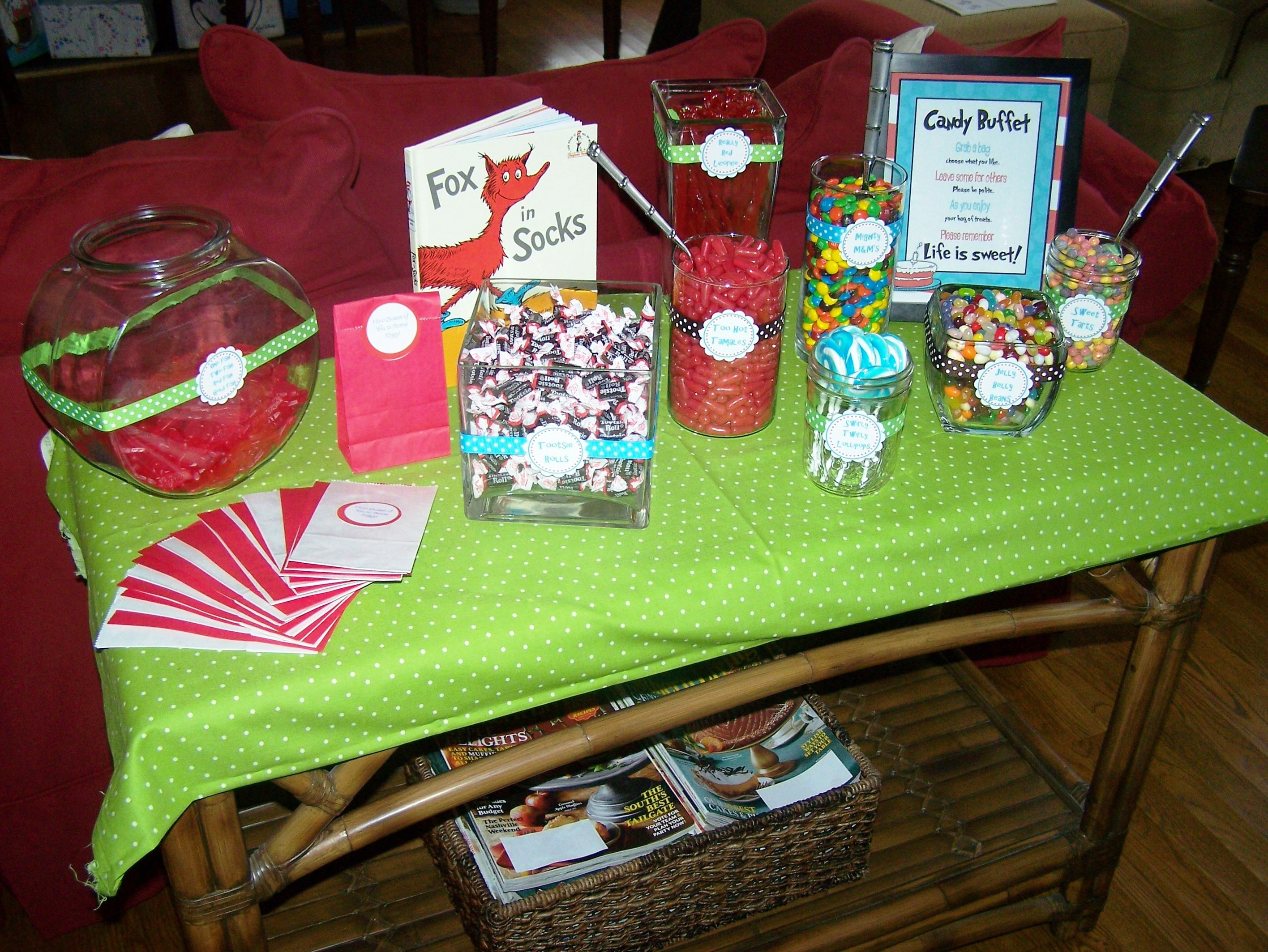 Dr Seuss baby shower candy buffet table party favors
