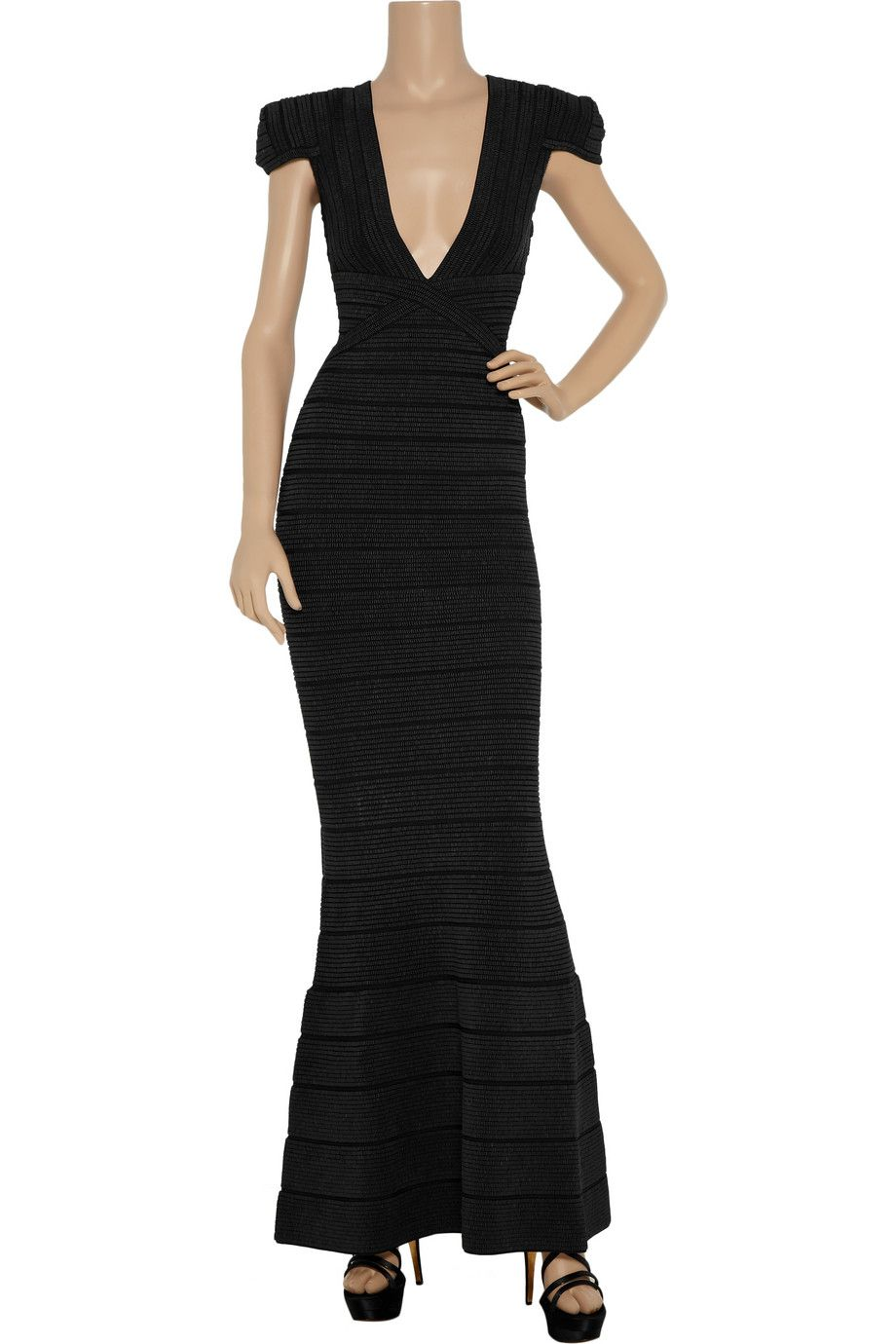 Featuring exquisite beading hervé légerus black bandage gown is an