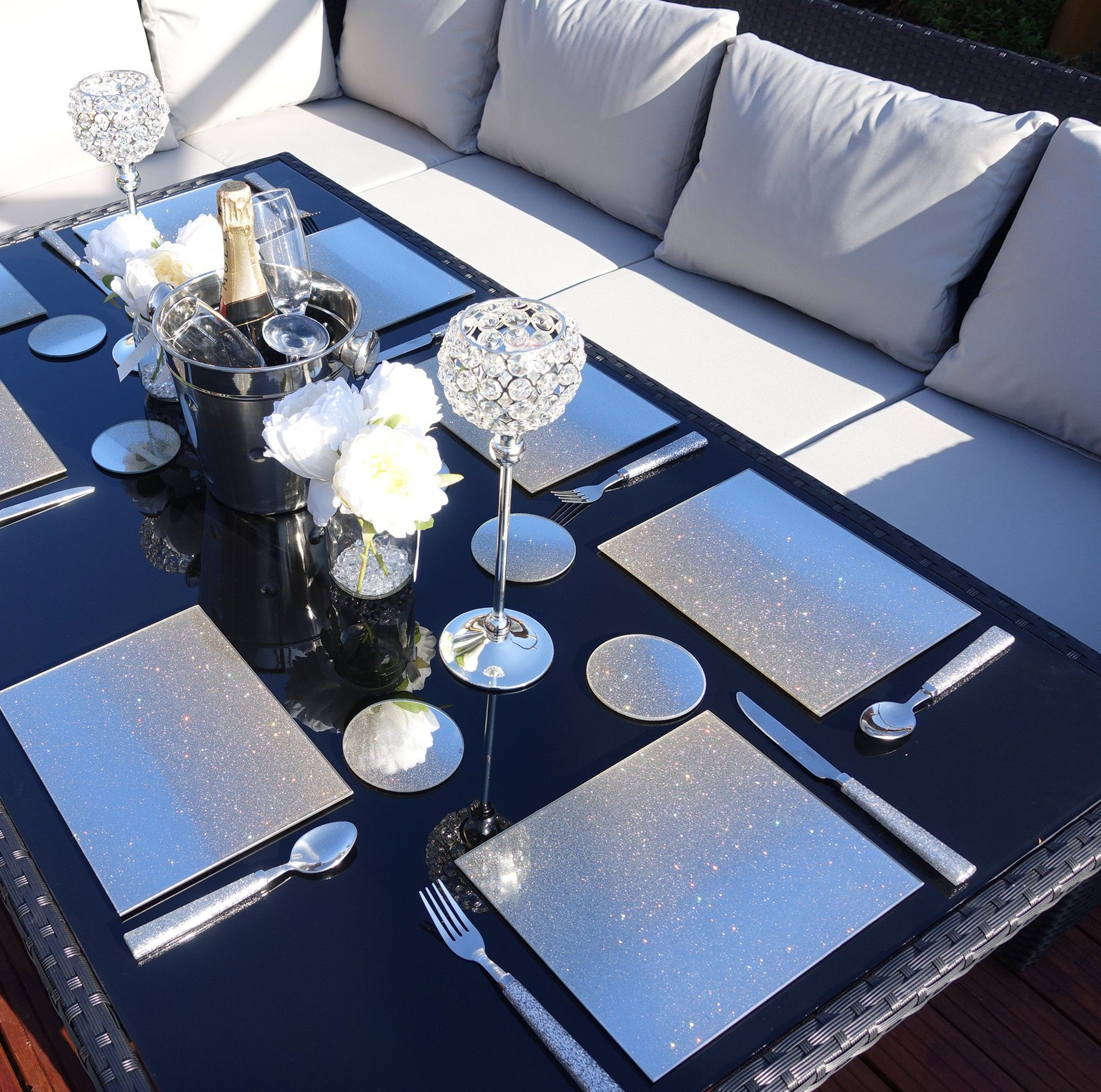 Graceful And Stylish Rattan Dining Table Lounge Set Black Diningtable