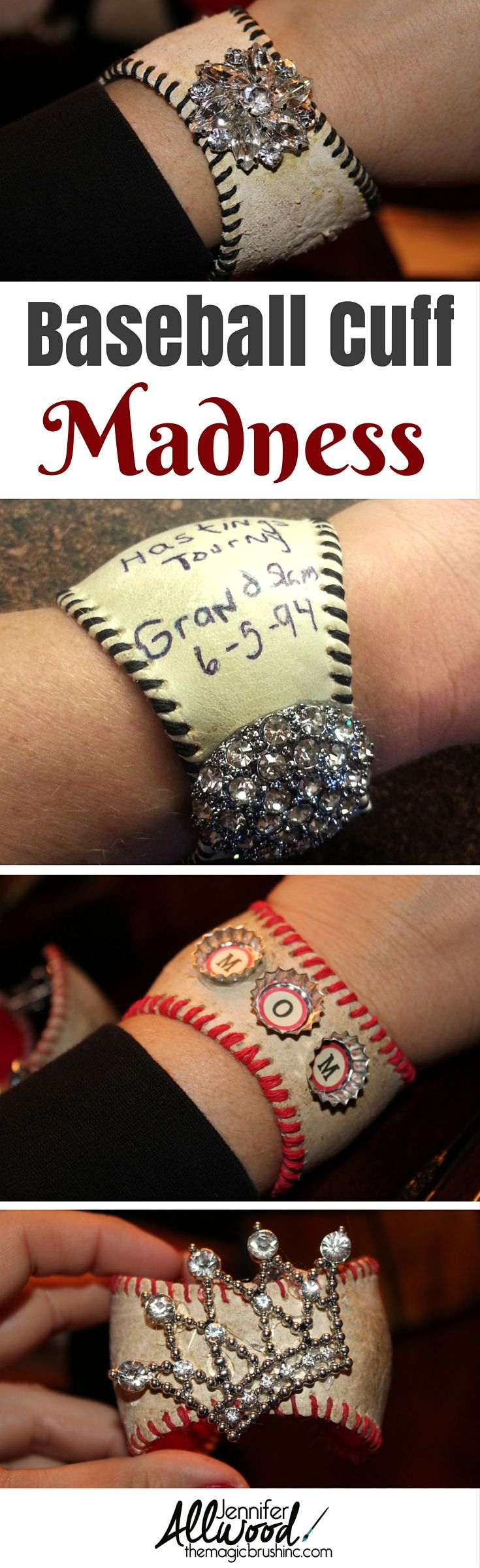 Baseball cuff madness! Add a little bling or turn a momentous game ball into a treasured piece of jewelry!  Great for baseball fans and basemall moms! More DIY projects at theMagicBrushinc.com
