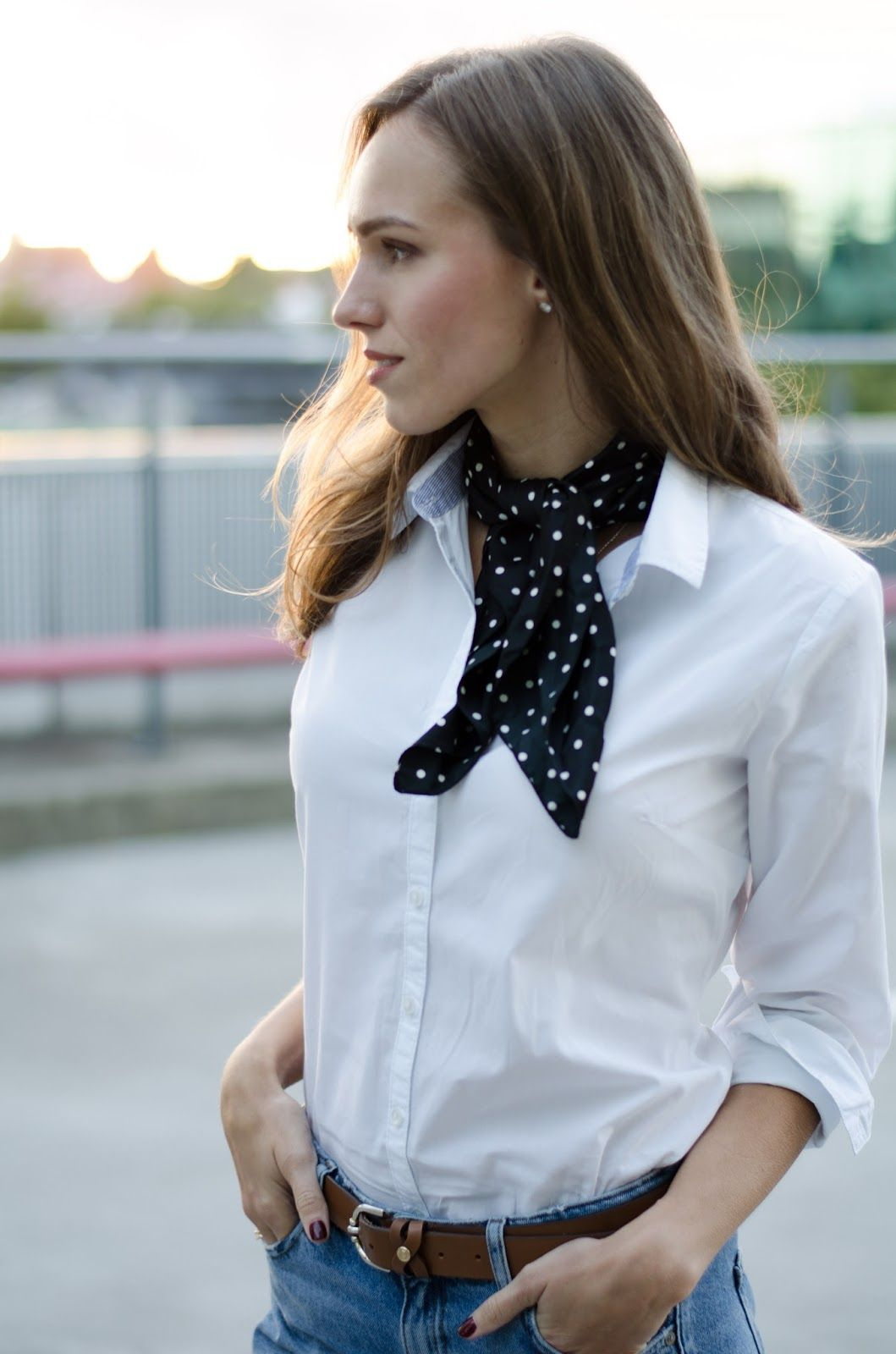 black dotted bandana neck scarf white shirt outfit Scarf