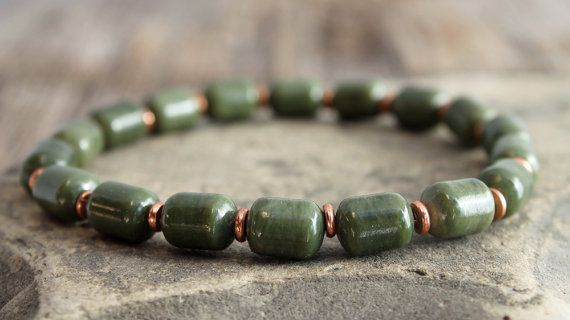 Nephrite Jade And Copper Stretch Bracelet Mens Drum Beads Custom Sizes Made To Order