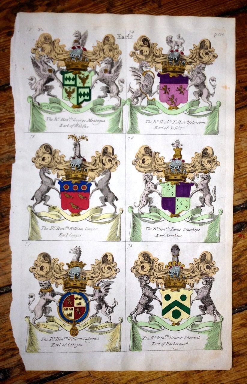 18th century CRESTS heraldic decorations original antique