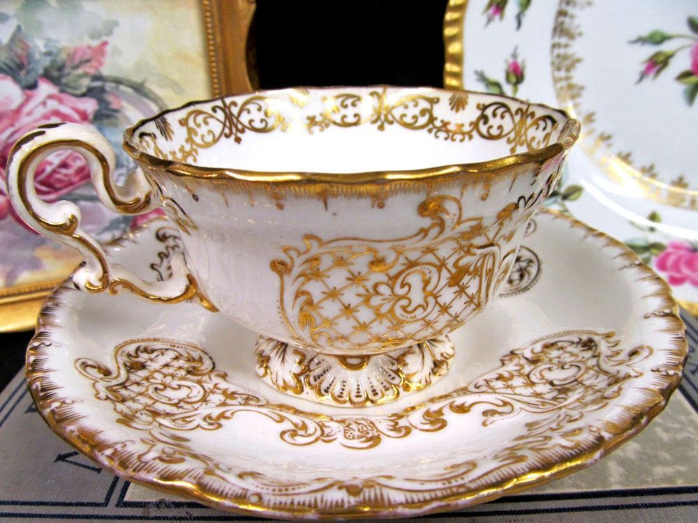 Copeland Garrett Tea Cup And Saucer 1840 S Gold Embossed Teacup Cup Saucer Antiques Decorative Arts Ceramics Porcelai Vaisselle Tasse Cafe Porcelaine