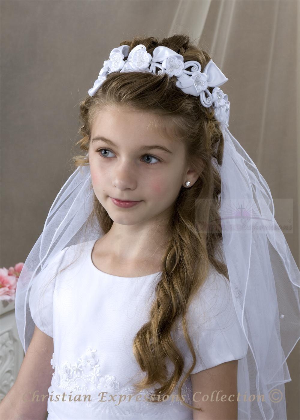 first comunion hair | first communion bun wrap veils first